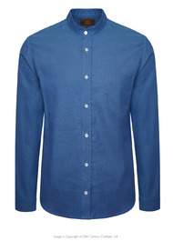 Tommys Collarless Shirt - Mid Blue