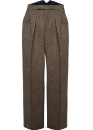 Fishtail Back Trousers - Brown Herringbone