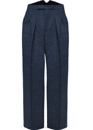 Fishtail Back Trousers - Navy Herringbone